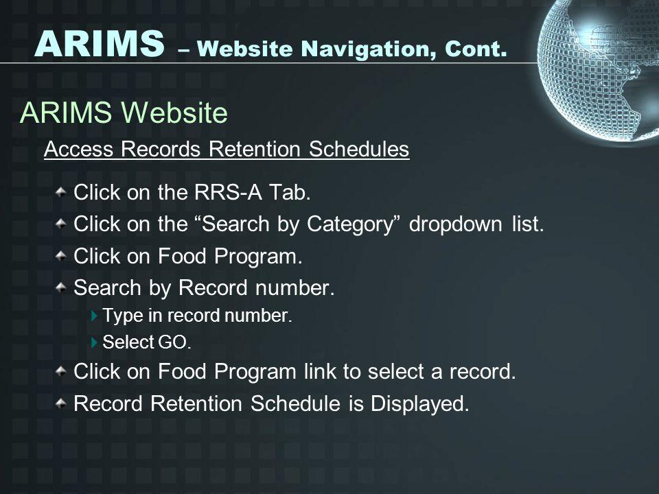 ARIMS – Website Navigation, Cont.