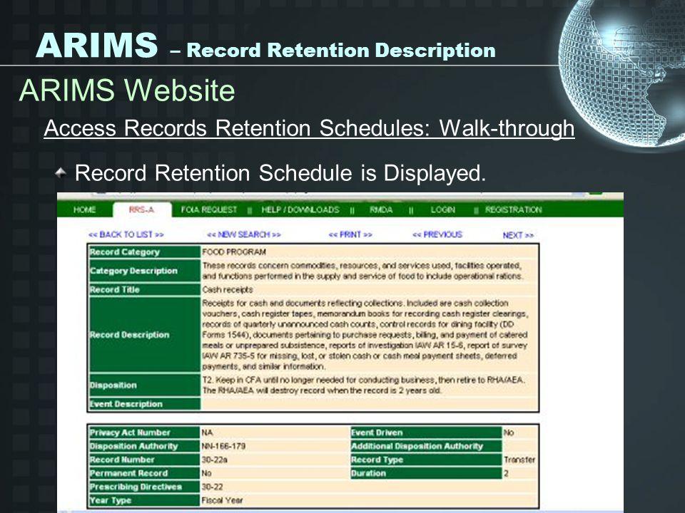 ARIMS – Record Retention Description