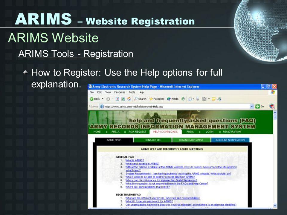 ARIMS – Website Registration