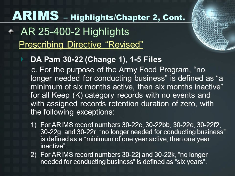 ARIMS – Highlights/Chapter 2, Cont.