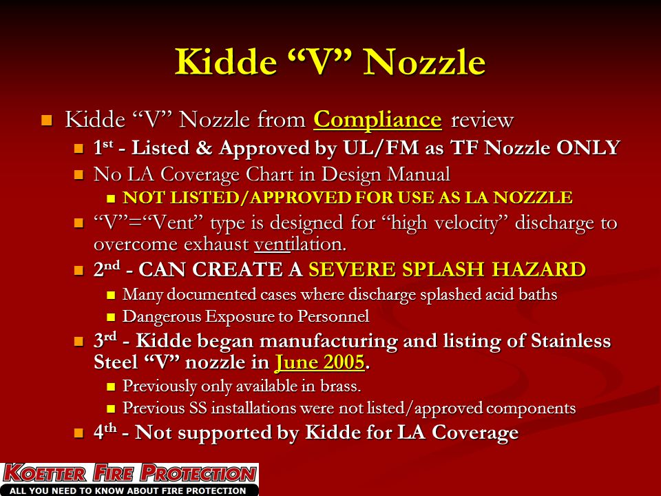 Kidde V Nozzle Kidde V Nozzle from Compliance review