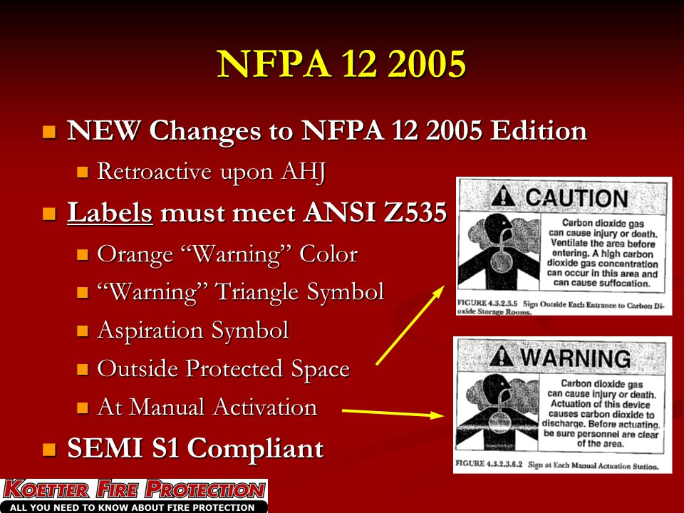 NFPA 12 2005 NEW Changes to NFPA 12 2005 Edition