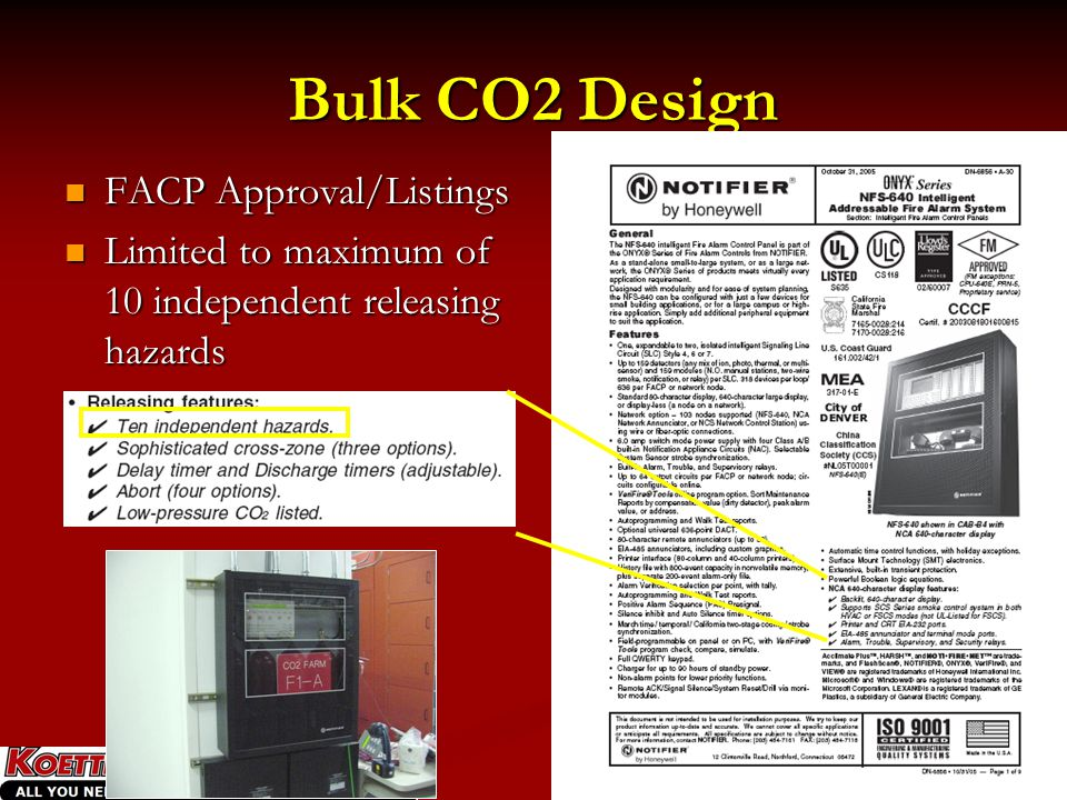 Bulk CO2 Design FACP Approval/Listings