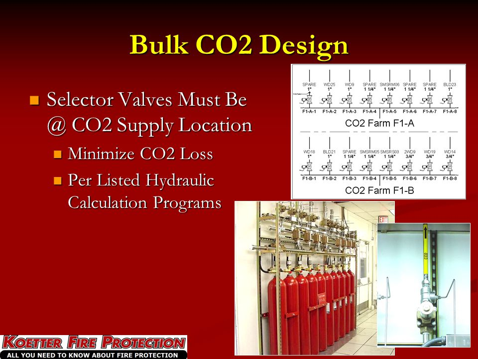 Bulk CO2 Design Selector Valves Must Be @ CO2 Supply Location