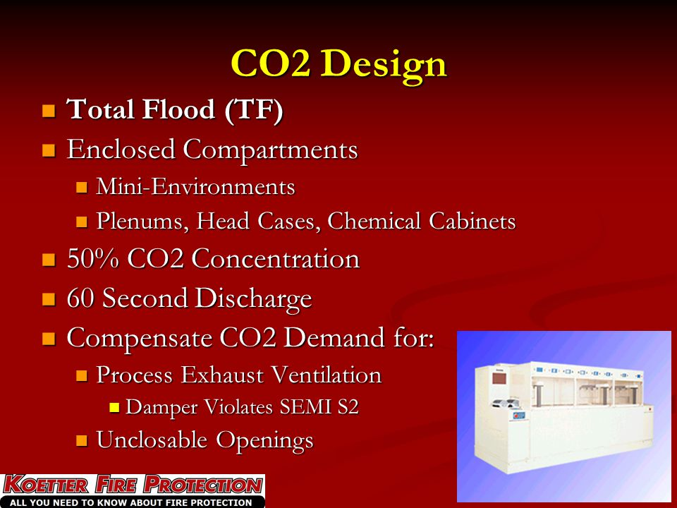 CO2 Design Total Flood (TF) Enclosed Compartments