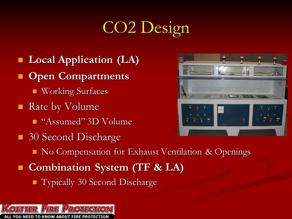 CO2 Design Local Application (LA) Open Compartments Rate by Volume