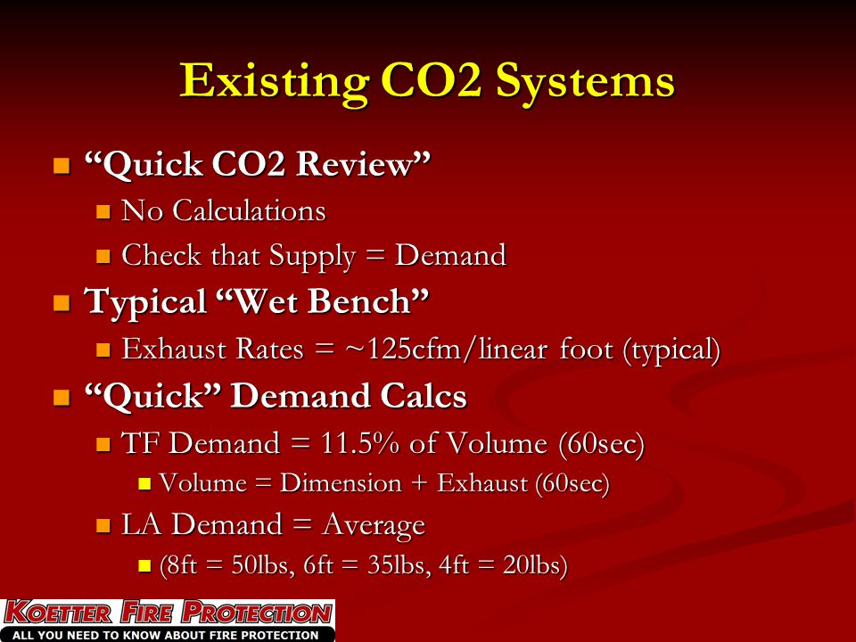 Existing CO2 Systems Quick CO2 Review Typical Wet Bench