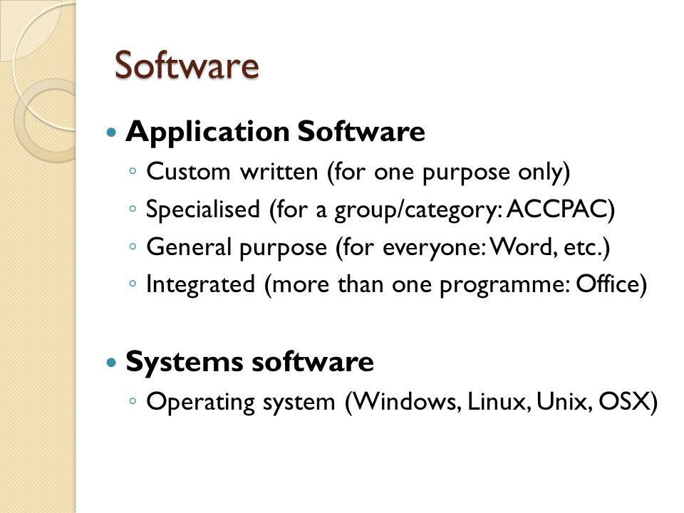 Software Application Software Systems software
