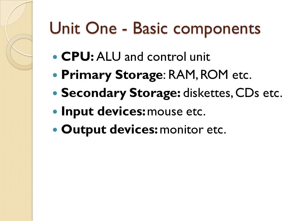 Unit One - Basic components