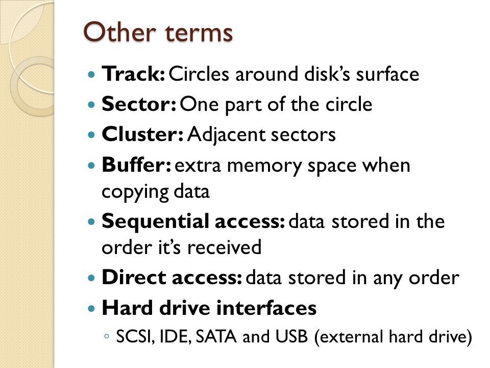 Other terms Track: Circles around disk's surface
