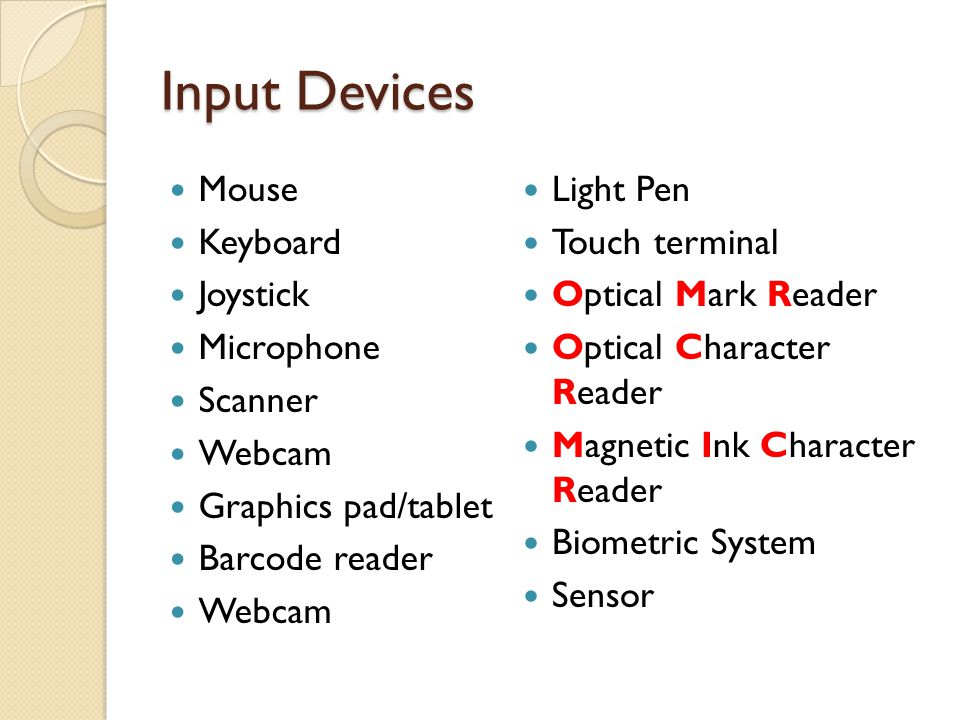 Input Devices Mouse Keyboard Joystick Microphone Scanner Webcam