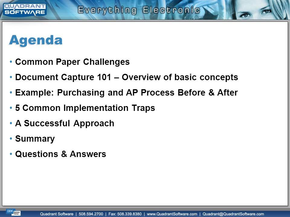 Agenda Common Paper Challenges
