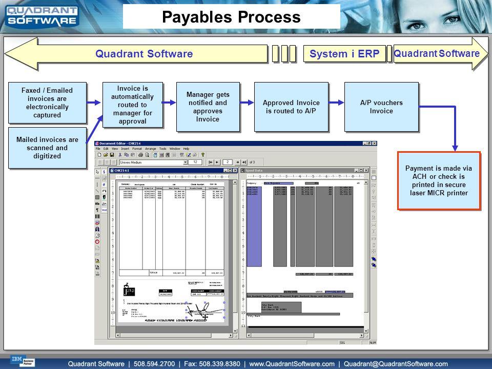 Payables Process Quadrant Software System i ERP Quadrant Software