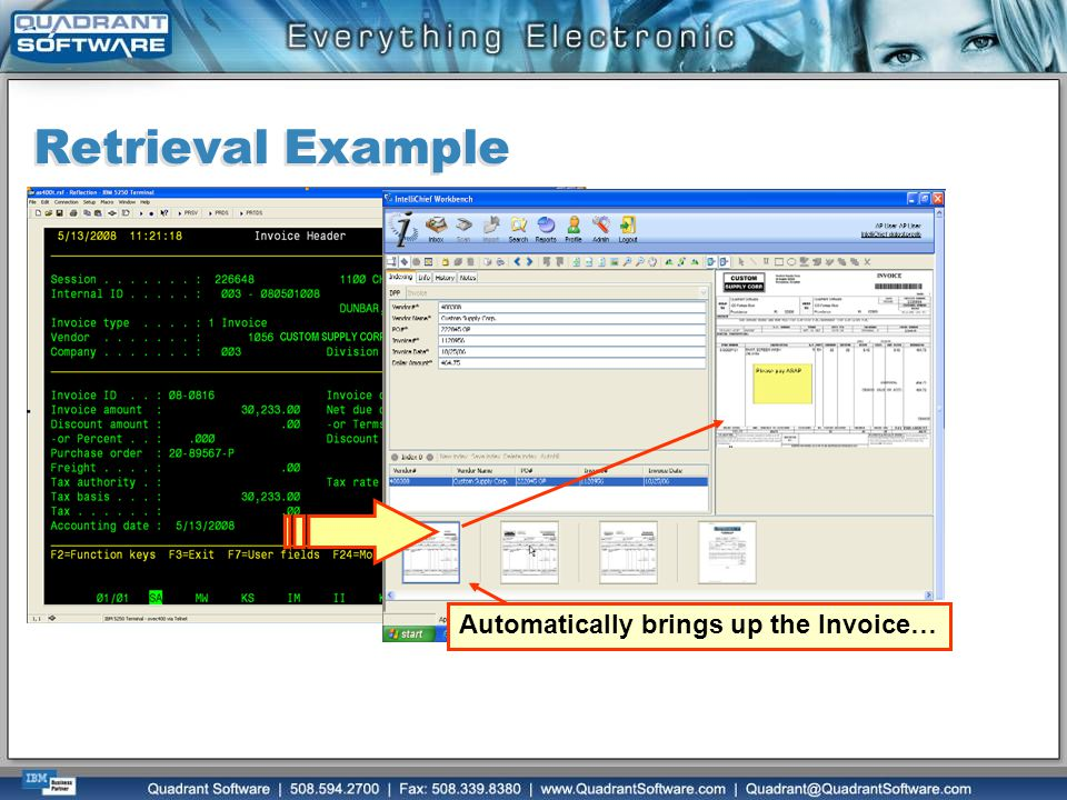 Retrieval Example Automatically brings up the Invoice…