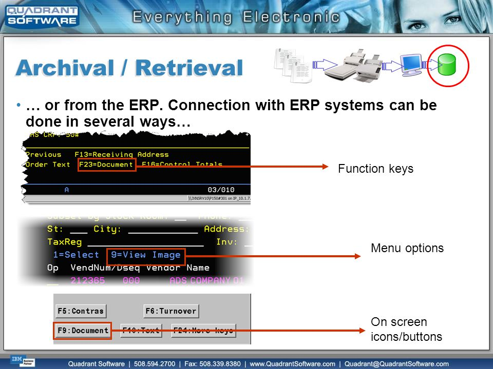 Archival / Retrieval … or from the ERP. Connection with ERP systems can be done in several ways… Function keys.