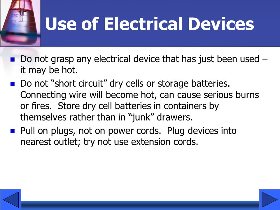 Use of Electrical Devices
