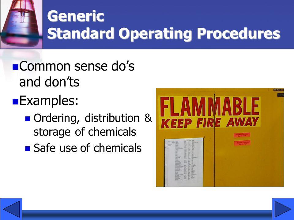 Generic Standard Operating Procedures