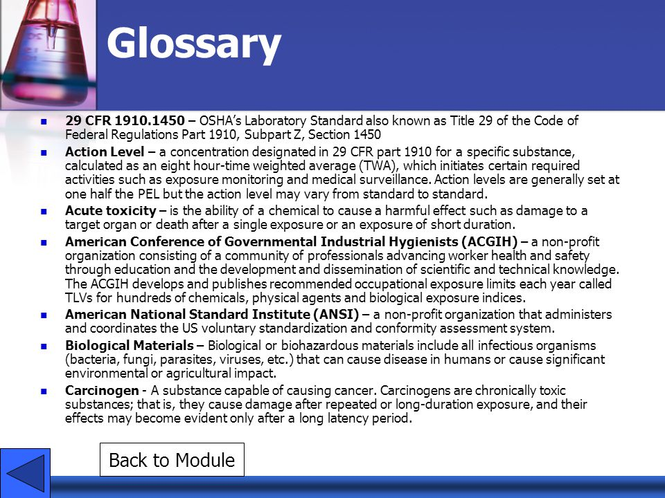 Glossary Back to Module