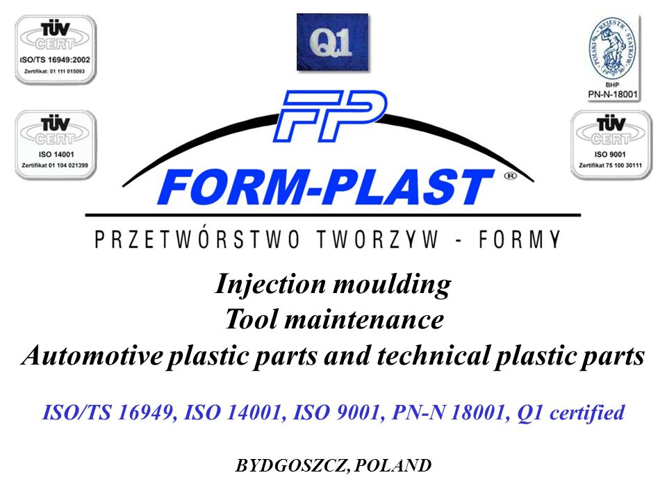 Automotive plastic parts and technical plastic parts
