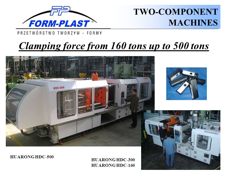 Clamping force from 160 tons up to 500 tons