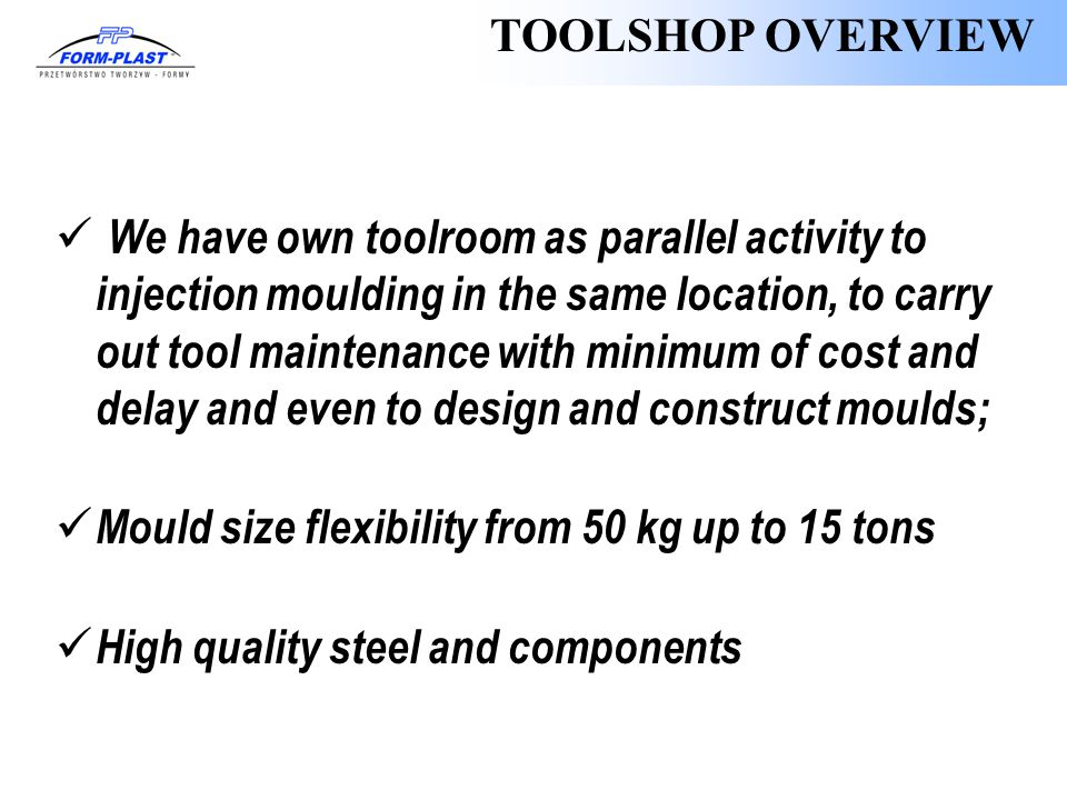 TOOLSHOP OVERVIEW