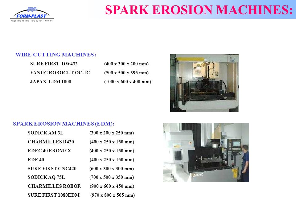 SPARK EROSION MACHINES: