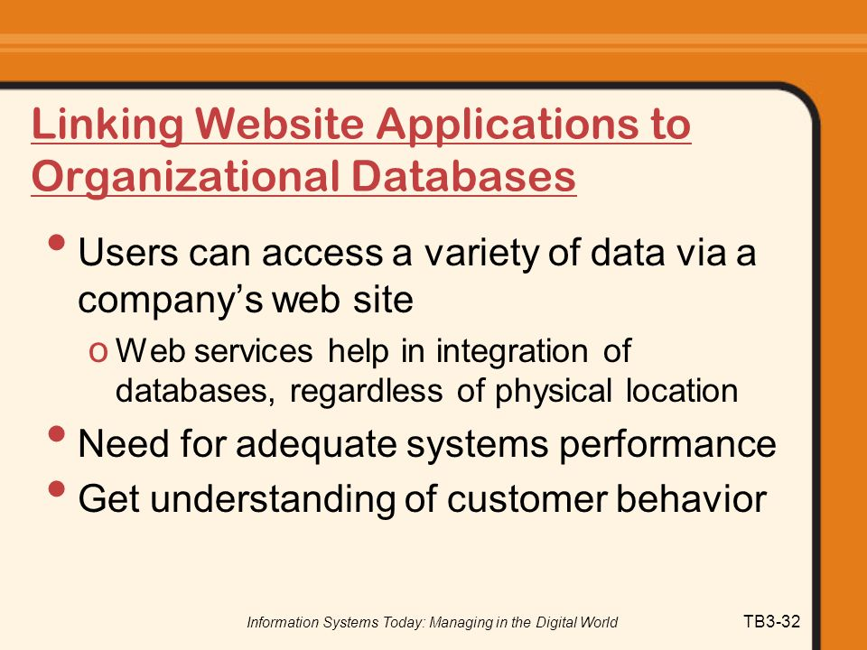 Linking Website Applications to Organizational Databases