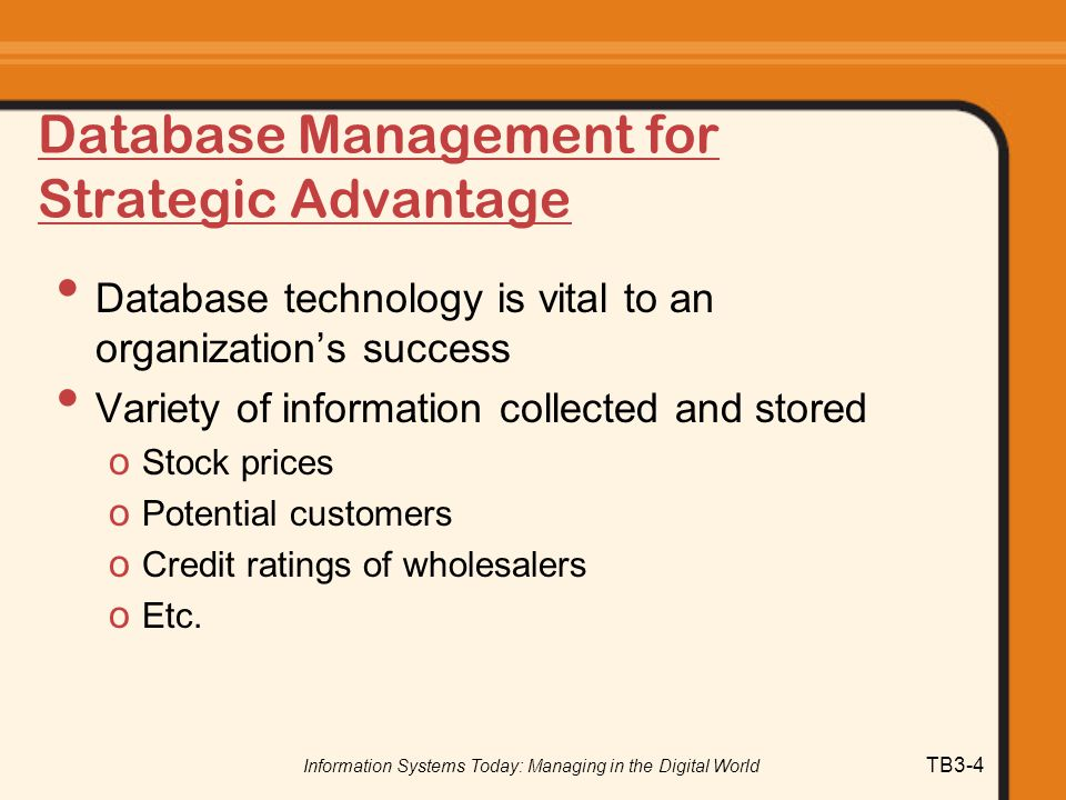 Database Management for Strategic Advantage