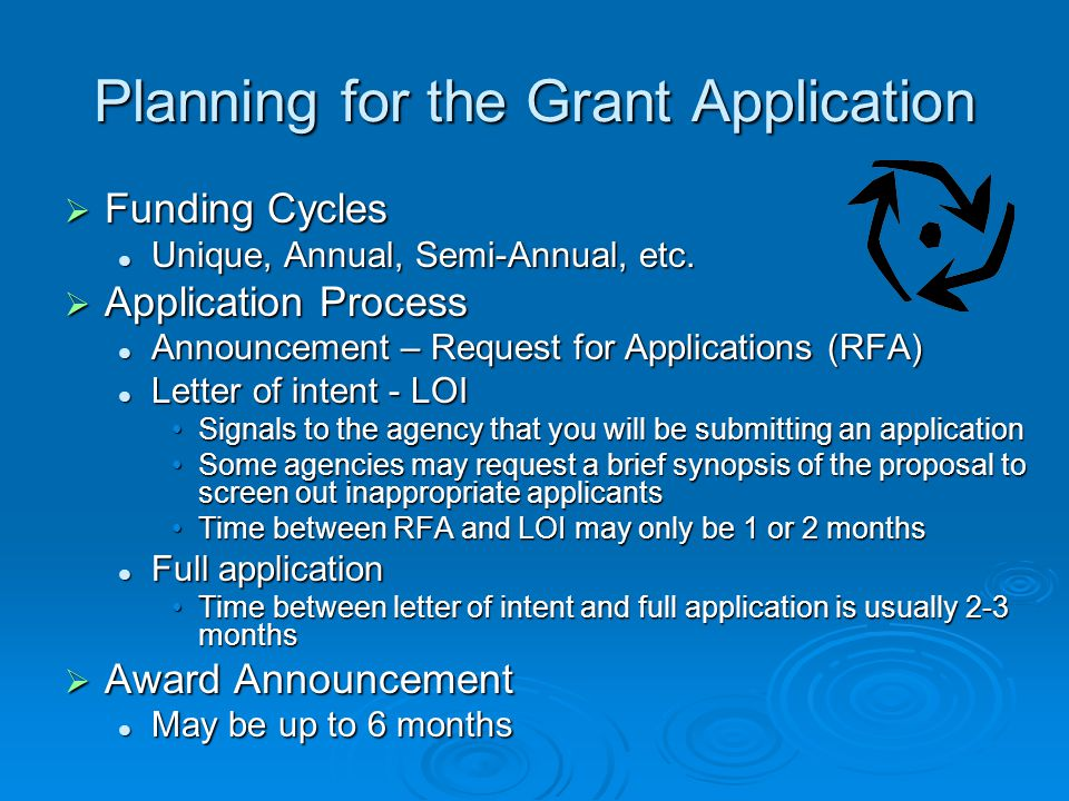 Planning for the Grant Application