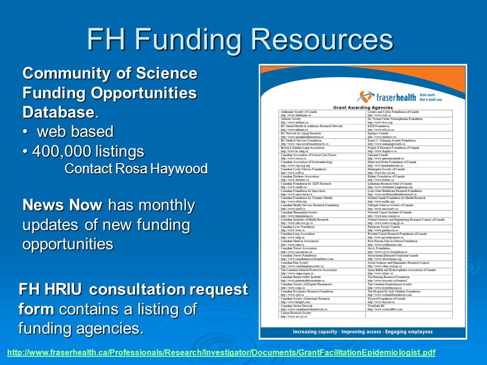 FH Funding Resources Community of Science Funding Opportunities Database. web based. 400,000 listings.