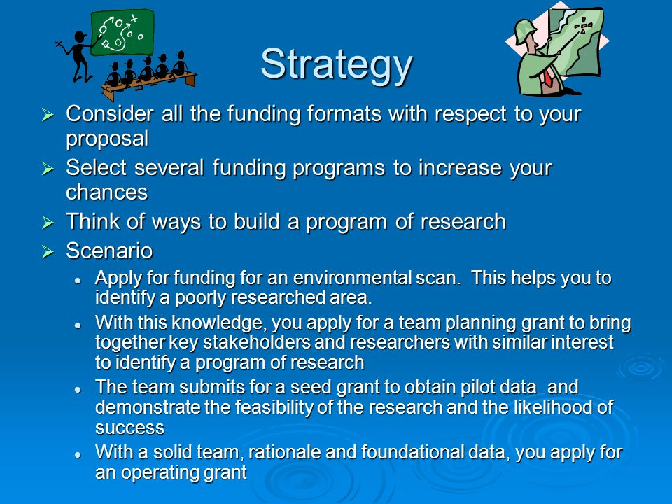 Strategy Consider all the funding formats with respect to your proposal. Select several funding programs to increase your chances.