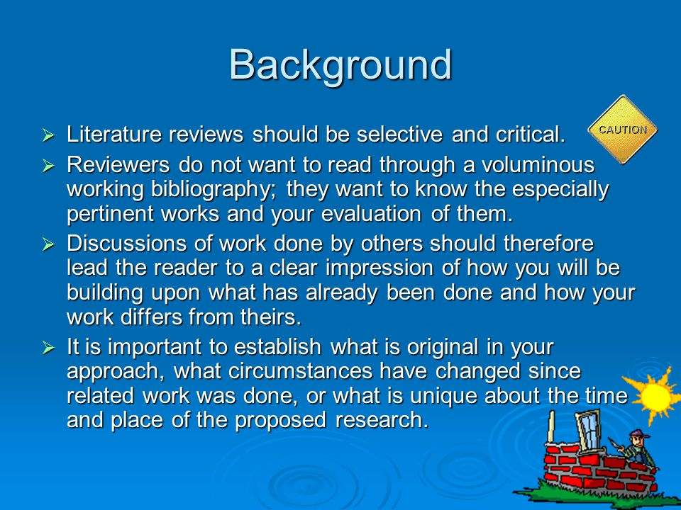 Background Literature reviews should be selective and critical.