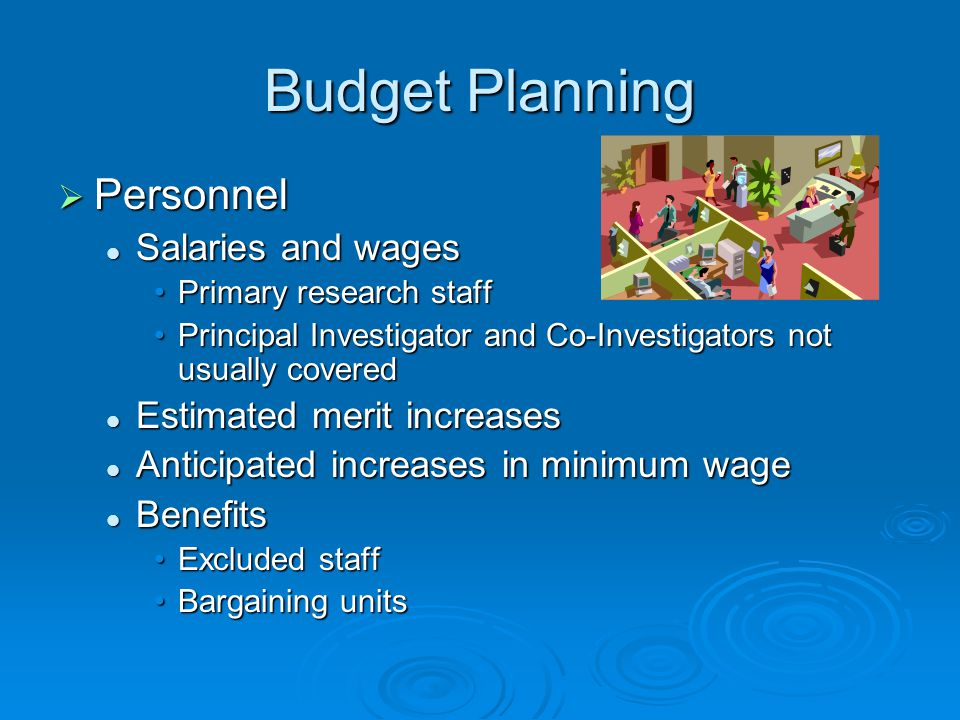 Budget Planning Personnel Salaries and wages Estimated merit increases