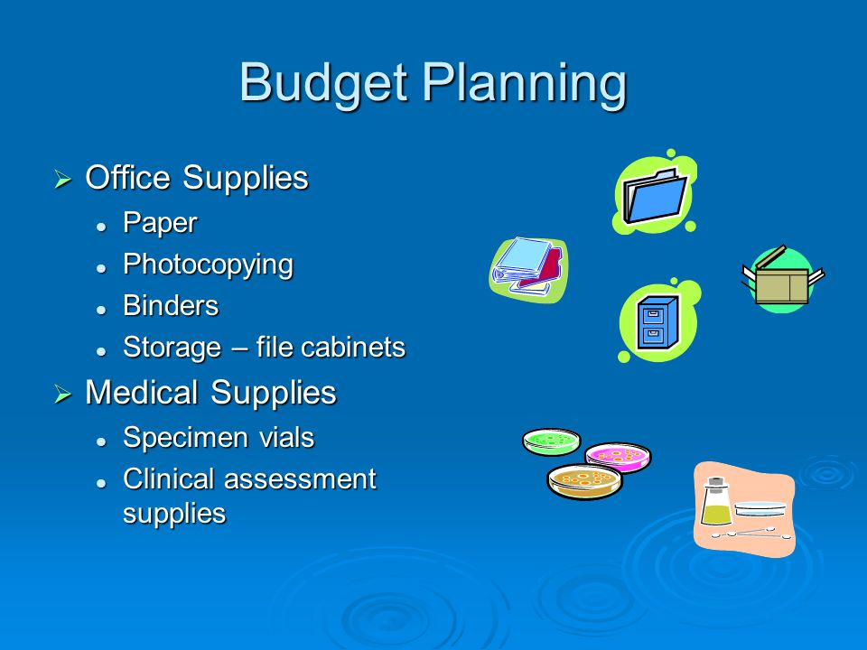 Budget Planning Office Supplies Medical Supplies Paper Photocopying