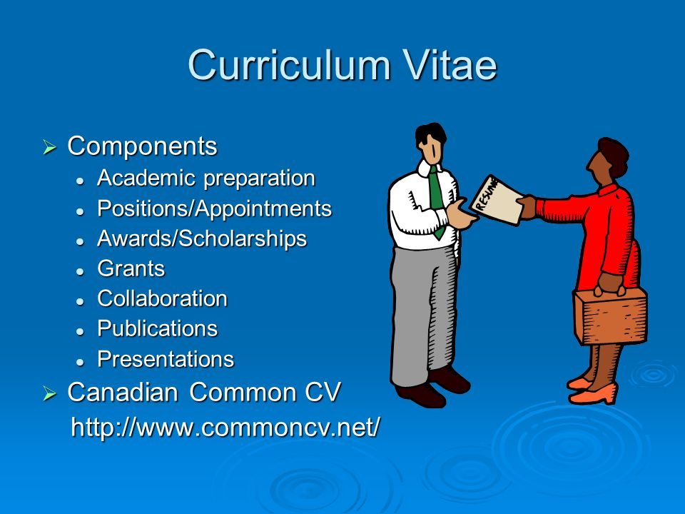 Curriculum Vitae Components Canadian Common CV