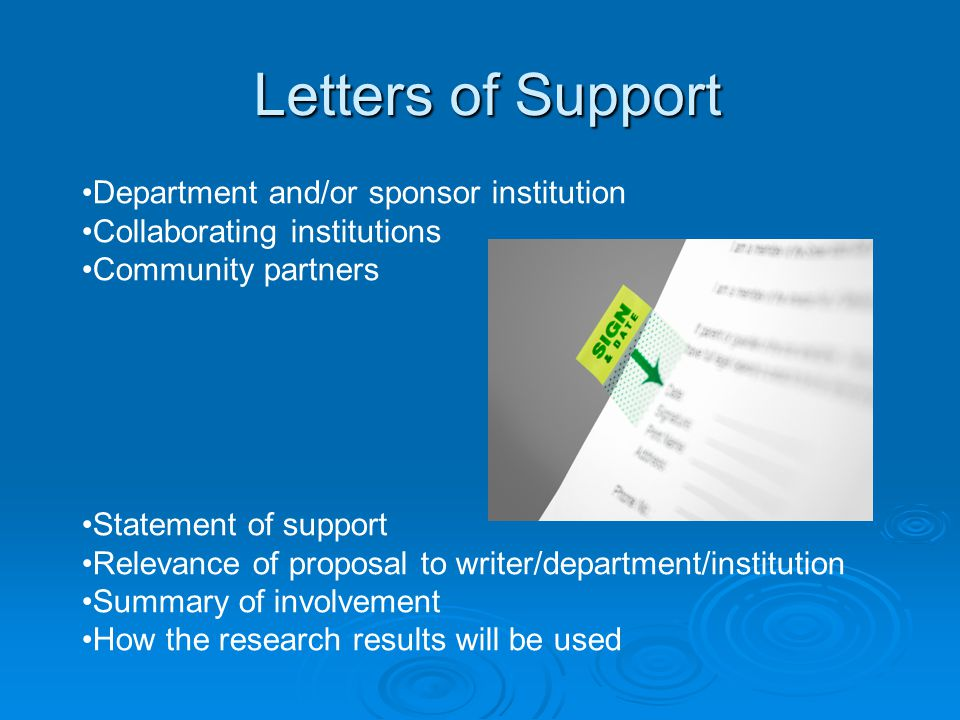 Letters of Support Department and/or sponsor institution
