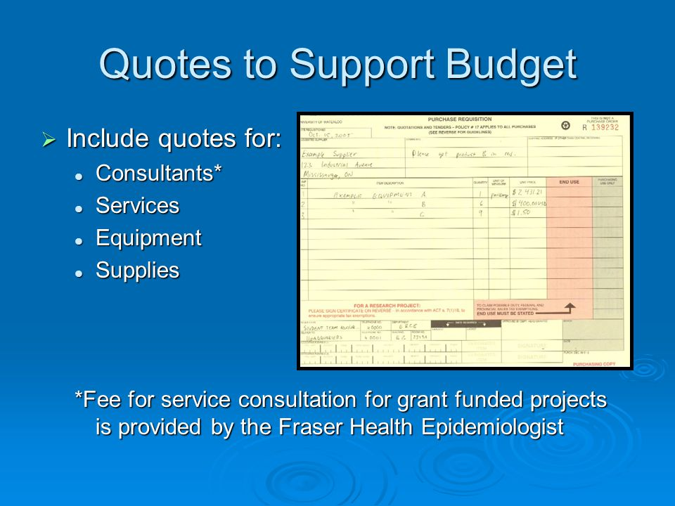 Quotes to Support Budget