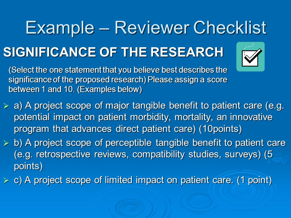 Example – Reviewer Checklist