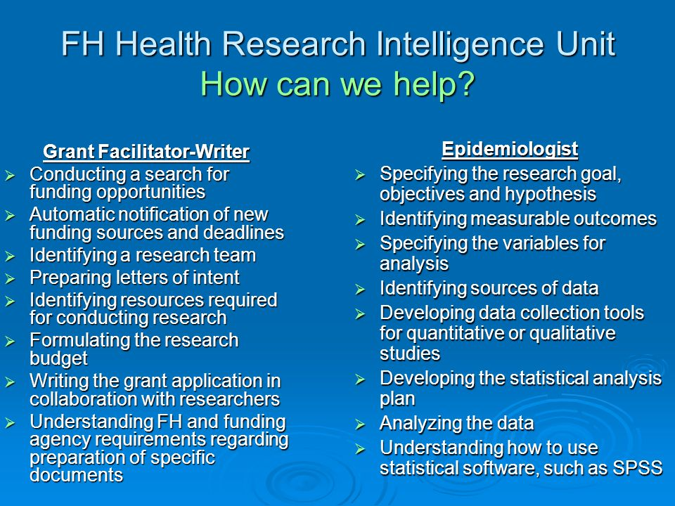 FH Health Research Intelligence Unit How can we help
