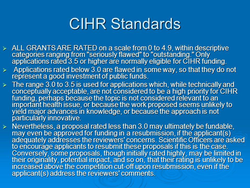 CIHR Standards