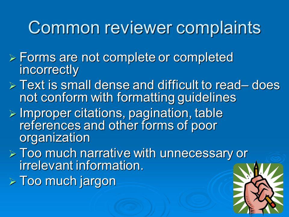 Common reviewer complaints