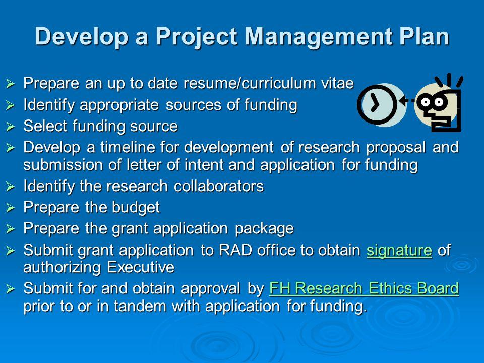 Develop a Project Management Plan
