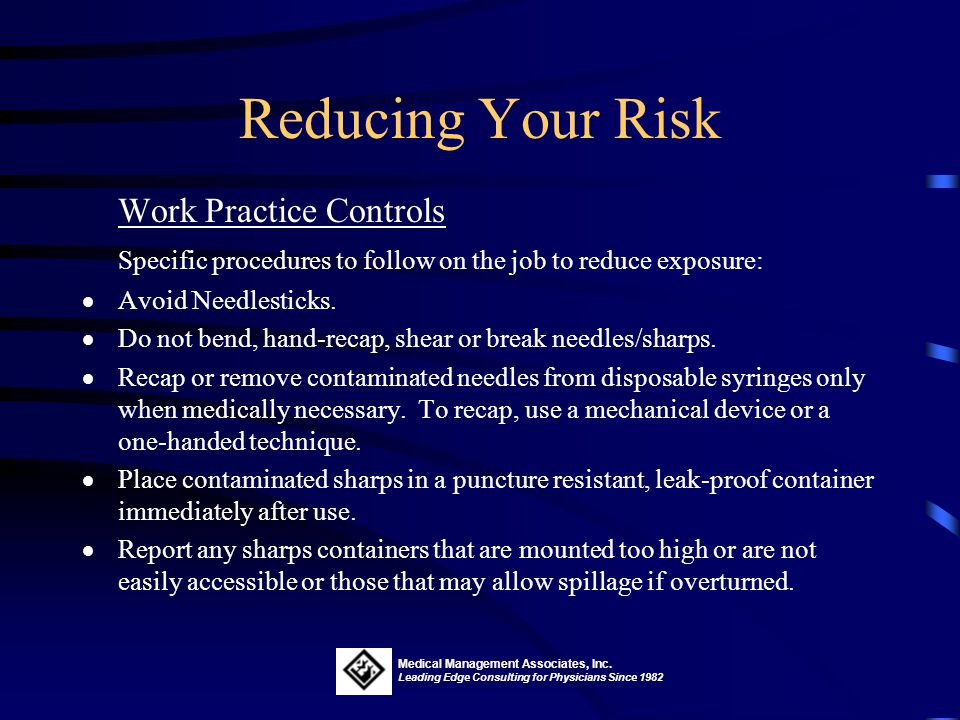 Reducing Your Risk Work Practice Controls