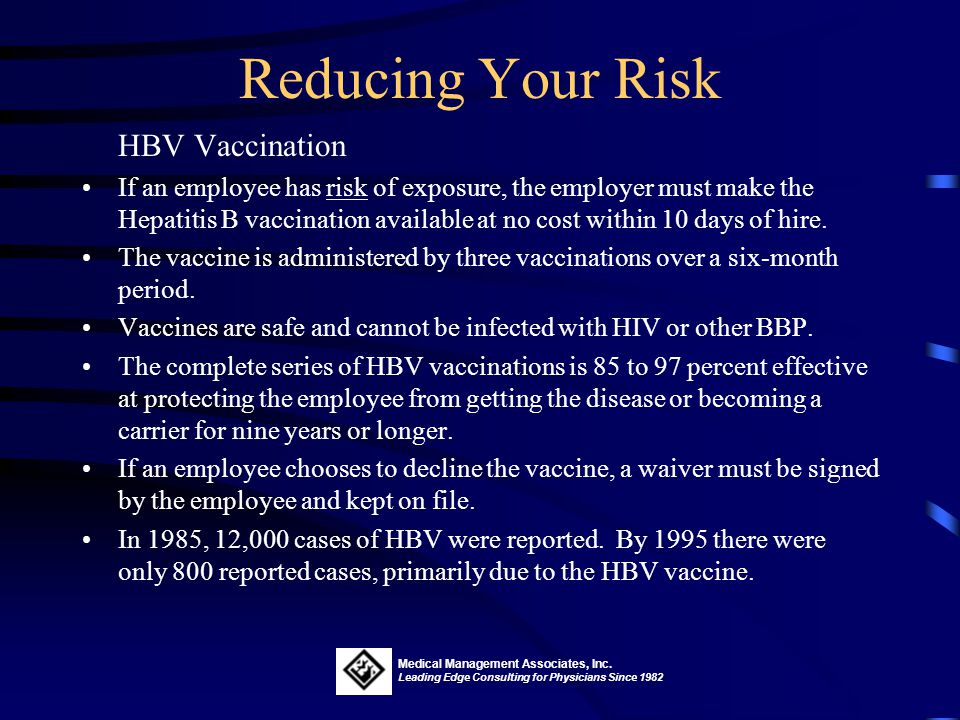 Reducing Your Risk HBV Vaccination.