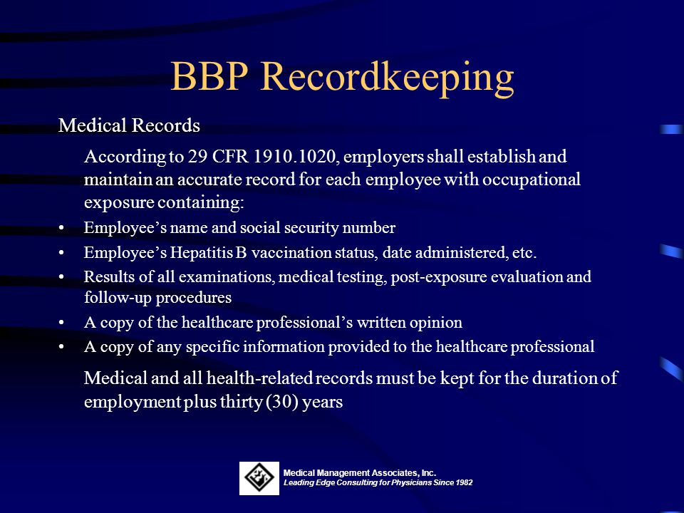 BBP Recordkeeping Medical Records.