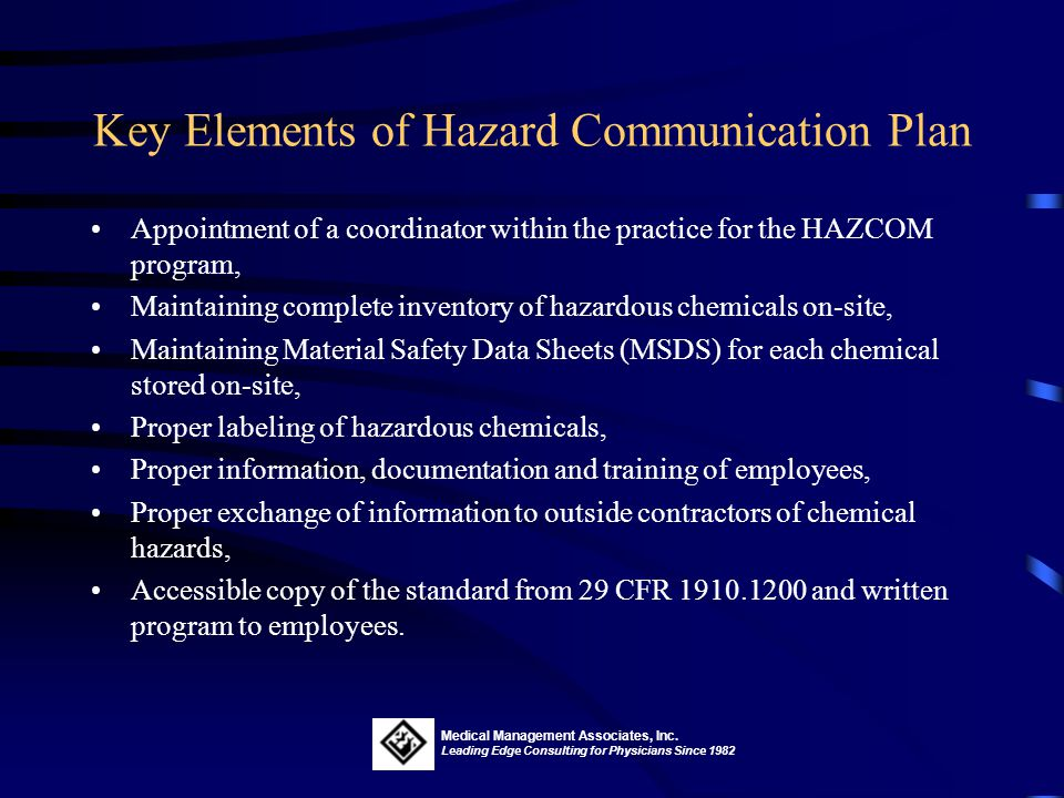 Key Elements of Hazard Communication Plan
