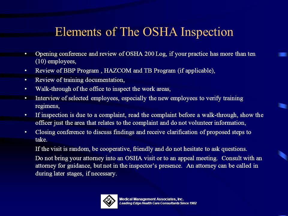 Elements of The OSHA Inspection
