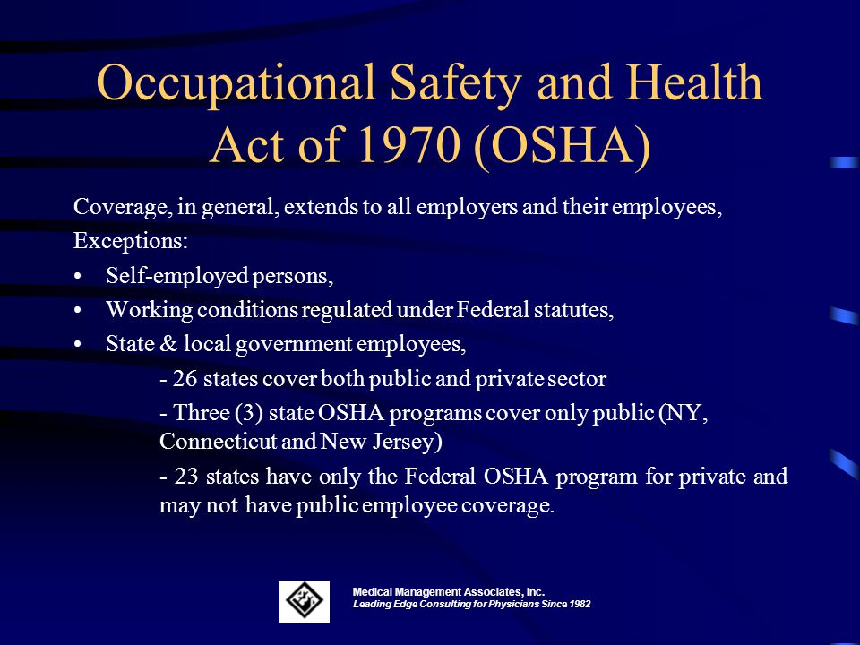 hazard occupational safety and health and Congress passed the occupational and safety health act to ensure worker and workplace safety their goal was to make sure employers provide their workers a place of employment free from recognized hazards to safety and health, such as exposure to toxic chemicals, excessive noise levels, mechanical.