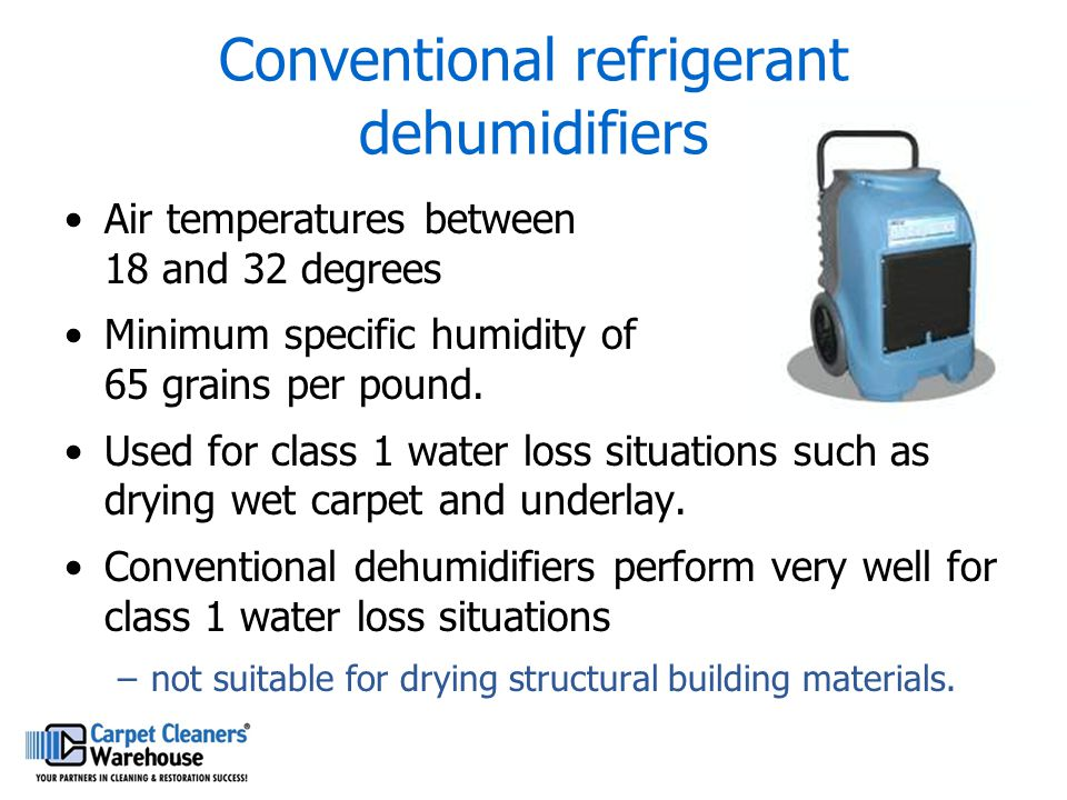 Conventional refrigerant dehumidifiers