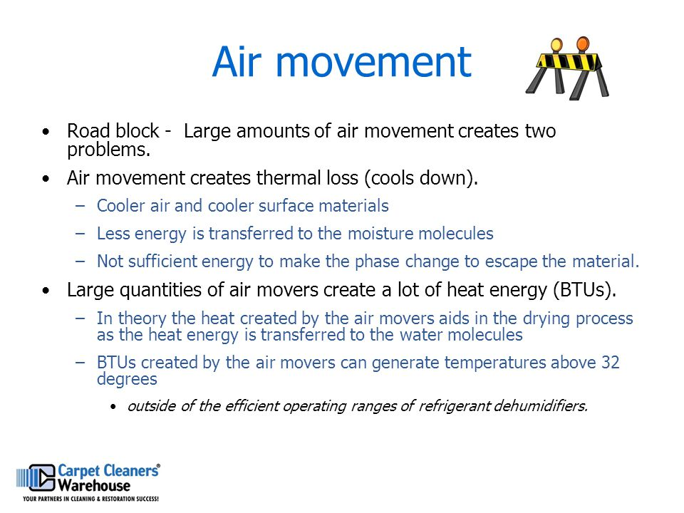 Air movement Road block - Large amounts of air movement creates two problems. Air movement creates thermal loss (cools down).
